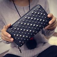 여성 지갑 PU 사계절 캐쥬얼 지퍼 타입 블랙 실버