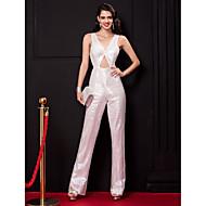 와 TS couture® 공식적인 이브닝 드레스 칼집 / 칼럼 V 넥 층 길이 반짝이