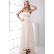 Prom Formal Evening Dress - Elegant A-line Strapless Asymmetrical Chiffon with Beading Draping