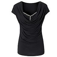 Women's Patchwork Ruched Glisten All Match T-shirt,Round Neck Short Sleeve