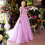 Formal Evening Dress Ball Gown Scoop Court Train Satin / Tulle with Appliques / Feathers / Fur / Flower(s) / Ruffles