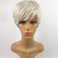 Short Length Straight Hair European Weave White Color Hair Synthetic Wig