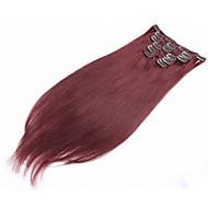 """grampo no cabelo humano 7pcs extensão / set 70g 15 """"-22"""" extensão natural do cabelo humano em linha reta"""