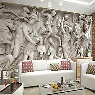 テレビソファの背景の壁のためのレトロな3Dシニーホッケー革効果の大きな壁画の壁紙ローマ救済芸術の壁の装飾