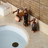 Çağdaş Ayrılmış Gövdeli Şelale / geniş spary with  Seramik Vana İki Kolları Üç Delik for  Gül Altın , Banyo Lavabo Bataryası