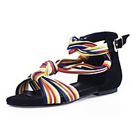 Women's Shoes Cowhide / Suede Low Heel Peep Toe / Rainbow Hues Gladiator Sandals Party & Evening / Dress / Casual Black