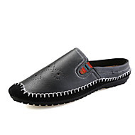 Men's Clogs & Mules Moccasin Light Soles Summer Fall PU Casual Outdoor Office & Career Black Brown Blue Flat