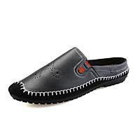 Masculino Sapatos de Barco Mocassim Solados com Luzes Couro Ecológico Verão Outono Casual Mocassim Solados com Luzes Preto Marron Azul