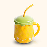 Creative Cute Pineapple Style Drinking Straw Ceramic Mug Cup
