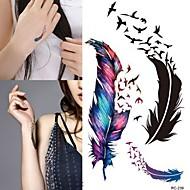 RC-Tatuajes Adhesivos-Waterproof-Otros-Mujer / Hombre / Adulto-Multicolor-PVC-1pcs-10.5*6cm-feather