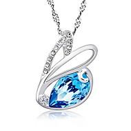 925 Sterling Silver Chain Cute Zircon Rabbit Pendant Charm Bunny Necklace Blue Rhinestone Elegant Women Colorful Jewelry
