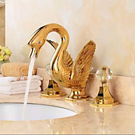 Separated Type Two Handles luxurious large Swan Shape Bathroom Basin Faucet - Gold
