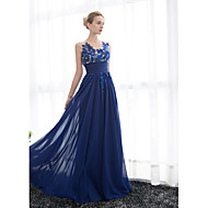 Formal Evening Dress - Plus Size A-line Scoop Floor-length Tulle / Georgette