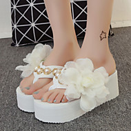 Women's Shoes Fabric Platform Flip Flops Slippers Outdoor / Dress Black / Pink / White