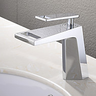 Modern Inbouw Waterval with  Keramische ventiel Single Handle Een Hole for  Chroom , Wastafel kraan