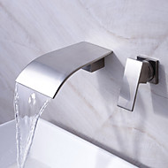 Waterfall Bathroom Sink Faucet Widespread Contemporary Design Faucet (Nickel Finish)