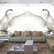 リビングルームのテレビsoafの背景の3Dシニーホッケー革効果の大きな壁画の壁紙白い白鳥アート壁の装飾