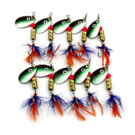 Hengjia 10pcs Deluxe Quality Spoon Metal Fishing Lures 63mm 5.7g Spinner Baits Random Colors