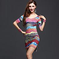 Latin Dance Dresses Women's Performance Milk Fiber Draped 1 Piece Fuchsia / Orange / Multi-color Latin Dance