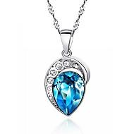 Classic Big Rhinestone Heart of The Ocean Sapphire Pendant Real 925 Silver Necklace Blue Zircon Women Favourite Jewelry