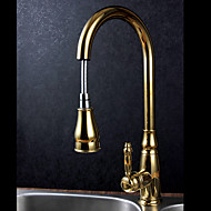 Deck Mounted Single Handle One Hole Brass with Ti-PVD Gold Kitchen Faucet Pullout Spray Sink Mixer Water Tap