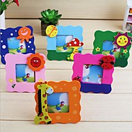 Cartoon Wood Photo Frame with Hollow Wooden  Child DIY Picture Art Decor(Random Color)