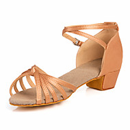 Non Customizable Women's/Kids' Dance Shoes Latin/Ballroom Satin Chunky Heel Brown