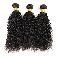"3 Bundles Brazilian Kinky Curly Virgin Hair Weave 8""-30"" Unprocessed Hair Weft Extensions Natural Color 300g"