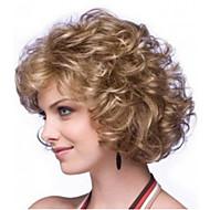 onda rizada 8 pulgadas las mujeres a largo peluca de pelo rizado sintético de color marrón claro