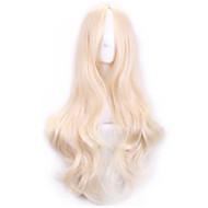 70 cm perruques harajuku de cosplay sexy des femmes à long cheveux bouclés synthétique européen américaine beige de perruque blonde