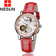nesun Women's Skeleton Watch Hollow Engraving Automatic self-winding Leather Band Red