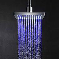 8inch LED Color Changing Square Shower Head - Silver