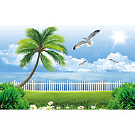 JAMMORY Art Deco Wallpaper Contemporary Wall Covering,Canvas Stereoscopic Large Mural  Seaside Landscape Seagull