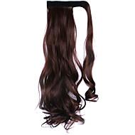paróka fekete csokoládé 45cm magas hőmérsékletű vezetékes pánt stílus hosszú haj lófarok szín 33