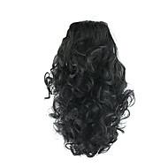 길이 검은 가발 34cm 합성 곱슬 고온 와이어 그리퍼 말 꼬리 머리 색깔이