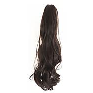 곱슬 갈색과 검은 색 합성 긴 곱슬 머리 클로 클립 가발 포니 테일