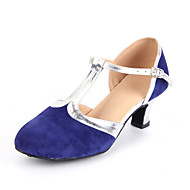 Non Customizable Women's Dance Shoes Modern Suede Cuban Heel Black/Blue/Brown