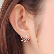 Stud Earrings Basic Fashion Simple Style Alloy Leaf Silver Golden Jewelry For Daily Casual 1 Pair