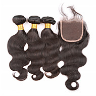 Hair Vetülék, zárral Perui haj Hullámos haj 12 hónap 4 darab haj sző