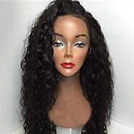 """처리되지 않은 12 """"-26""""인치 130 % 밀도 처녀 브라질 자연 색상 곱슬 전체 레이스 가발 인간의 머리 레이스 앞 가발"""