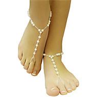 vrouwen parels enkelband gehaakte enkelbanden strand bruiloft op blote voeten sandalen
