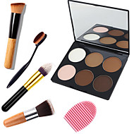 3in1 Contour Makeup Set(6 Color Bronzer&Highlighting Powder Bright&Matte Cosmetic Palette+1 Contour Brush+1 Brush Egg)