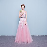 Formal Evening Dress A-line Scoop Floor-length Lace / Tulle with Lace