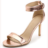 Women's Shoes Leatherette Stiletto Heel Heels / Open Toe Sandals Party & Evening / Dress / Casual Silver / Gold /