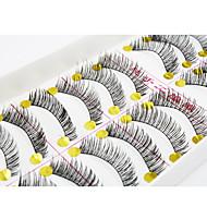 10Pair Eyelashes  Full Strip Lashes Eyes / Eyelash Crisscross / Thick Extended / Handmade Fiber Black Band 0.10mm 11mm