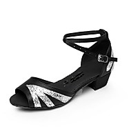 Customizable Women's Dance Shoes Satin Satin Latin Sandals Low Heel Beginner / Professional Pink / Red / Silver / Gold