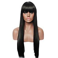 Fuel svart lang rett ekte menneskelig hår parykk for kvinner