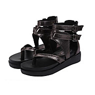 Women's Shoes PU Flat Heel Mary Fashion Sandals/ Comfort Sandals Outdoor / Dress / Casual Black / Brown / Silver / Gold