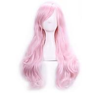 パーティー衣装の女性の女性の70センチ原宿アニメのコスプレウィッグフル長い波状カーリー人工毛のピンクのかつら