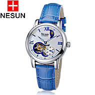 nesun 女性用 スケルトン腕時計 透かし加工 自動巻き レザー バンド グリーン